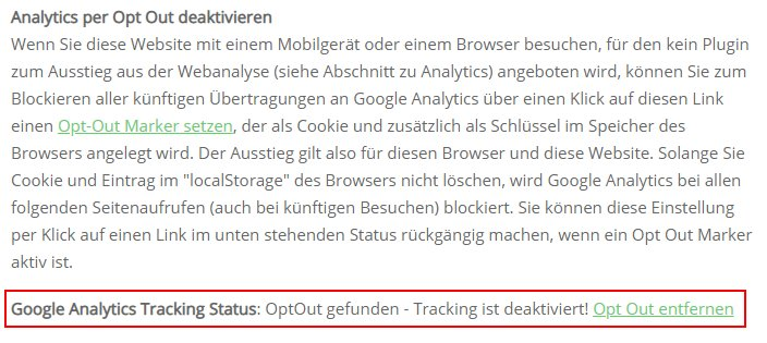 Ausgabe des Opt Out Status per JavaScript