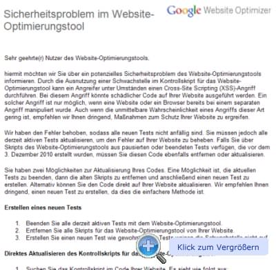 Mail von Google zur Lücke in GWO