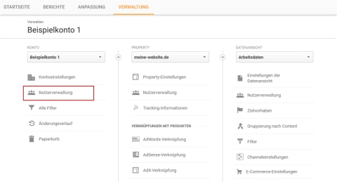 Google Analytics Nutzermanager